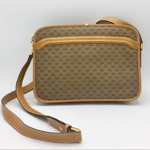 Vintage Gucci Micro GG Coated Canvas Leather Bag